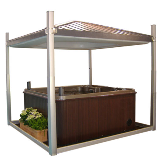 Abris modulable pour spa hydrocover clair 39 azur for Abri spa exterieur