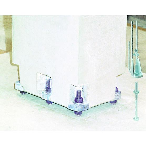 ancrage pour poteau b ton pr fabriqu sabot de poteau halfen. Black Bedroom Furniture Sets. Home Design Ideas