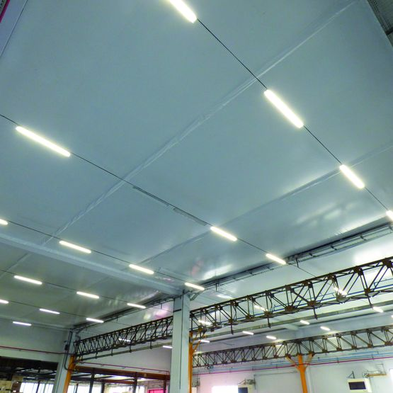 B che tendue en faux plafond pour isolation d 39 erp ou - Faux plafond industriel ...