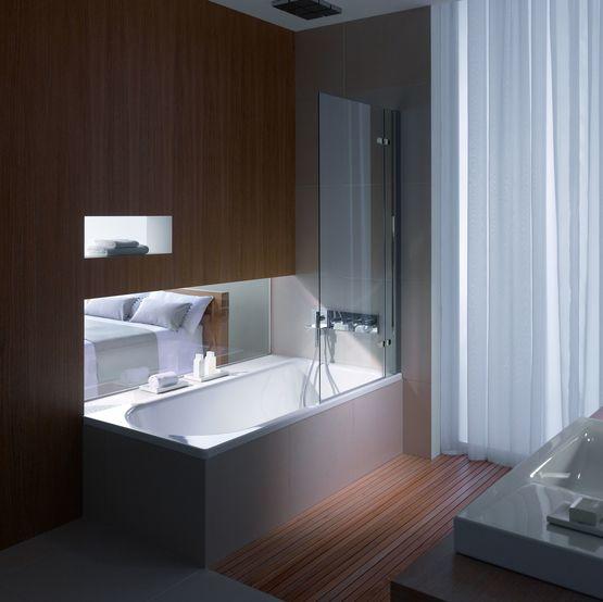 baignoire douche avec bonde centrale en acier titane vitrifi. Black Bedroom Furniture Sets. Home Design Ideas