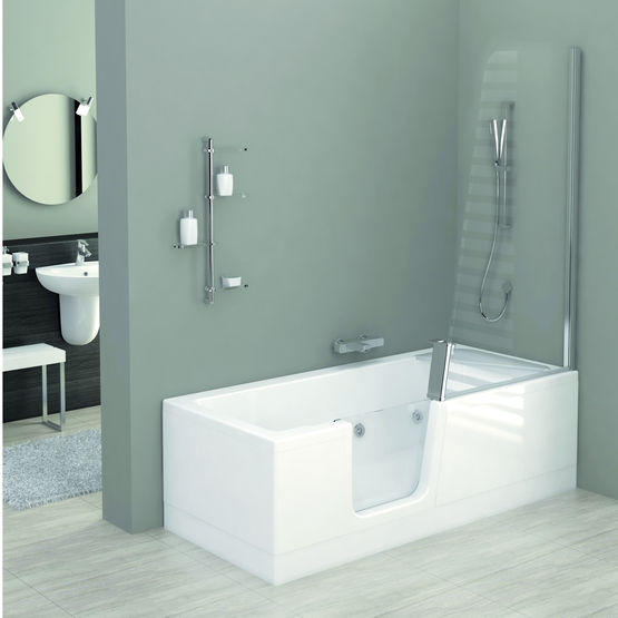 baignoire douche avec porte d 39 acc s vitr e kineduo. Black Bedroom Furniture Sets. Home Design Ideas