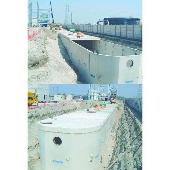Bassins en b ton pour le stockage des eaux pluviales cuves et r servoirs de stockage des eaux for Genie des eaux