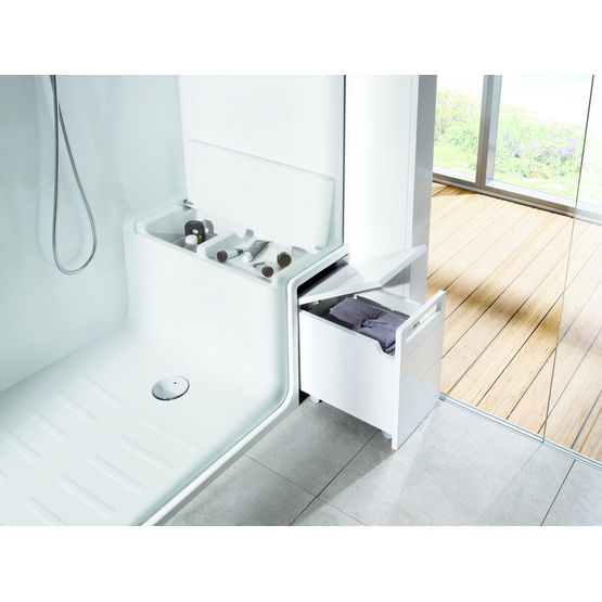 cabine de douche receveur avec banc et rangement hide. Black Bedroom Furniture Sets. Home Design Ideas