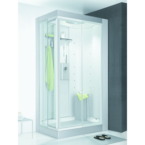 cabine de douche aluminium avec espace rangement colorem ideal standard. Black Bedroom Furniture Sets. Home Design Ideas