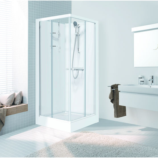 73351a028d0c83 Cabine de douche d angle à panneaux de fond en verre laqué   Iziglass