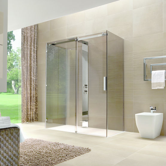 Cabine de douche sans cadre porte coulissante oops disenia - Cabine de douche sans porte ...