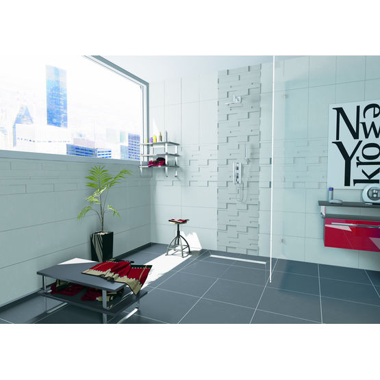 caniveau en inox bross ou carreler pour douche l. Black Bedroom Furniture Sets. Home Design Ideas