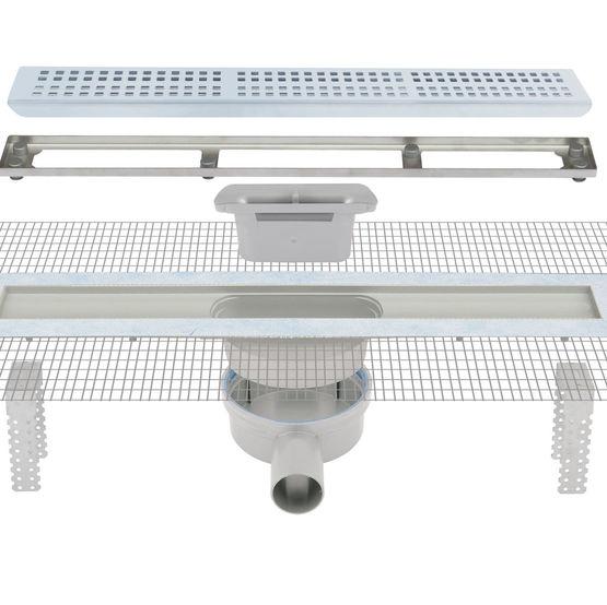 caniveau pour douche l 39 italienne avec grille inox et sortie 360. Black Bedroom Furniture Sets. Home Design Ideas