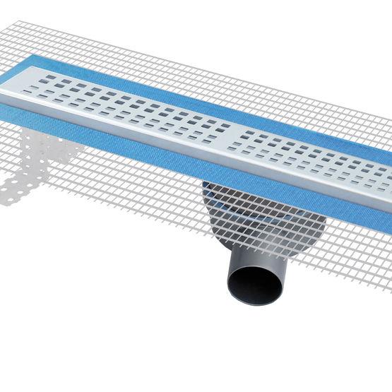 caniveau pour douche l 39 italienne avec grille inox et. Black Bedroom Furniture Sets. Home Design Ideas