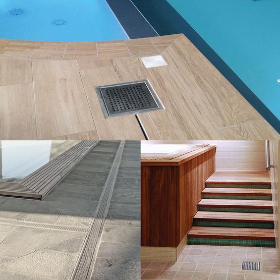 caniveaux et siphons bl cher pour spas piscines et. Black Bedroom Furniture Sets. Home Design Ideas