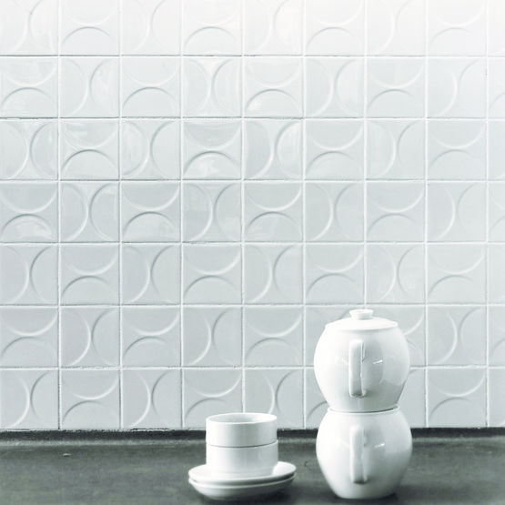 carreau mural blanc brillant d cor g om trique en relief. Black Bedroom Furniture Sets. Home Design Ideas