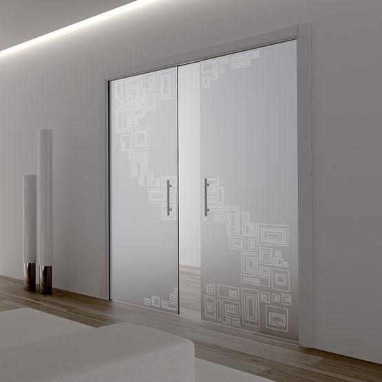 Ch ssis pour porte coulissante galandage deux vantaux for Porte galandage en verre