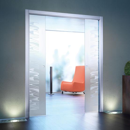 Ch ssis pour porte coulissante galandage deux vantaux extension eclisse - Double porte interieure vitree ...