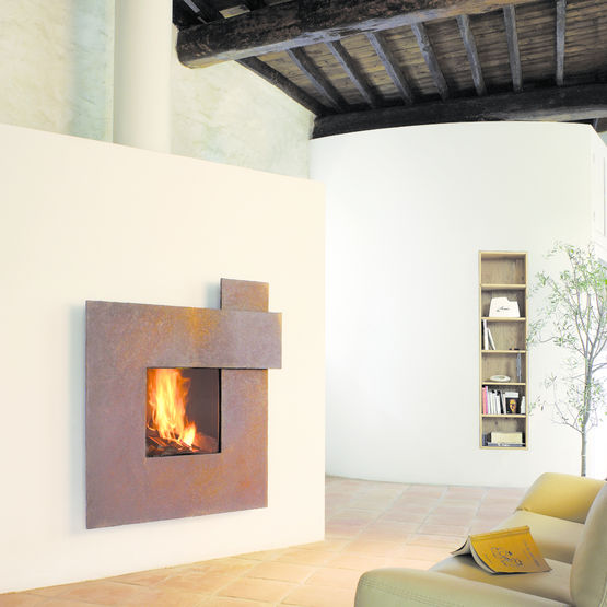 cheminee centrale orientable posee ou suspendue. Black Bedroom Furniture Sets. Home Design Ideas