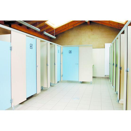 cloisons de cabines sanitaires en stratifi massif cabines sanitaires france equipement. Black Bedroom Furniture Sets. Home Design Ideas