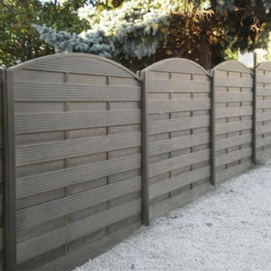 Cl ture double face lames ou panneaux en b ton imitation bois gamme modula cl tures nicolas for Construction en bois ou beton