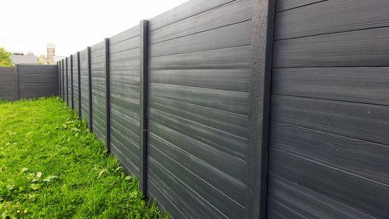 Cl ture en b ton d 39 aspect bois imitation bois teint e dans la masse cl tures nicolas - Cloture jardin en beton orleans ...