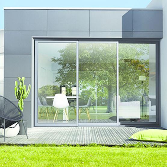 coulissants trois rails rupture de pont thermique compl te baie coulissante 3 rails k line. Black Bedroom Furniture Sets. Home Design Ideas