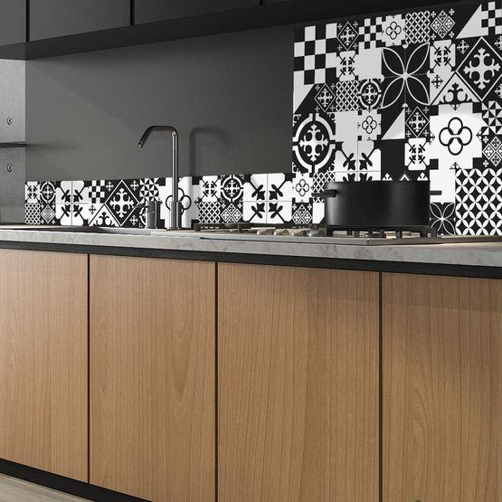 Crédence de cuisine en ALU composite prête à poser | Carreaux de ciment (  plusieurs modèles disponibles )