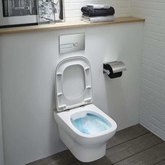 cuvette suspendue avec abattant d clipsable et technologie. Black Bedroom Furniture Sets. Home Design Ideas