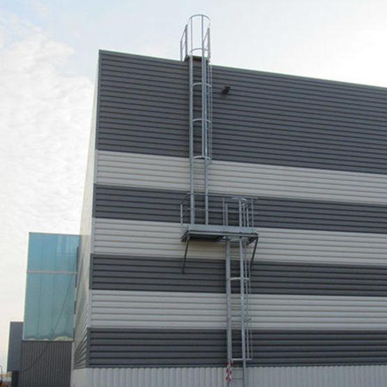 Echelle crinoline en acier pour acc s toiture batiproduits for Echelle exterieur