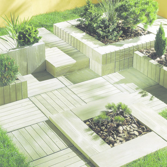 Elements modulaires aspect bois pour espaces paysagers - Dalle d emmarchement ...