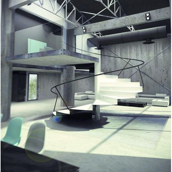 escalier h lico dal en t le d 39 acier pli e elika kozac. Black Bedroom Furniture Sets. Home Design Ideas