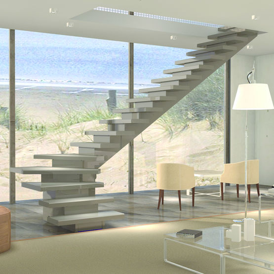 Escalier modulable b ton en kit pbm distribution for Construction escalier exterieur beton