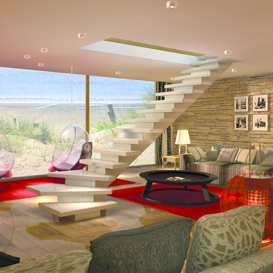 escalier quart tournant b ton en kit escalier mpm quart. Black Bedroom Furniture Sets. Home Design Ideas