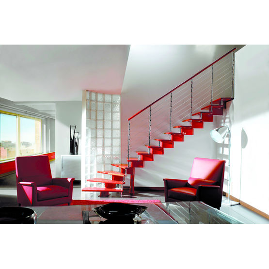 escalier sans contremarche sur limon central modulaire nika redline escalier bois aveyronnais. Black Bedroom Furniture Sets. Home Design Ideas