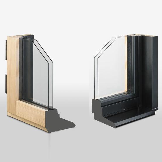 auralu3 fen tre contemporaine bois aluminium avec ouverture la fran aise. Black Bedroom Furniture Sets. Home Design Ideas