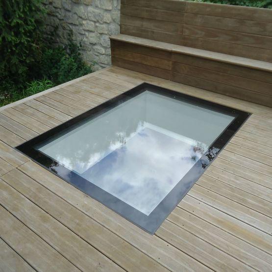 fen tre de sol fixe pour clairage z nithal sans cadre visible gv flushglaze de sol glazing. Black Bedroom Furniture Sets. Home Design Ideas