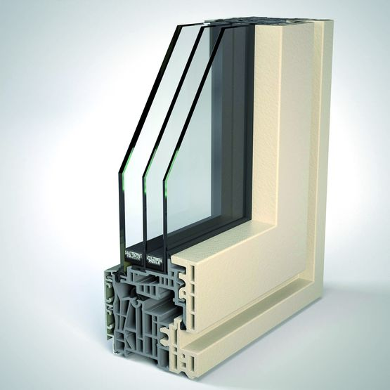 Fen tre en aluminium et pvc recycl vitrage ext rieur for Fenetre triple vitrage aluminium