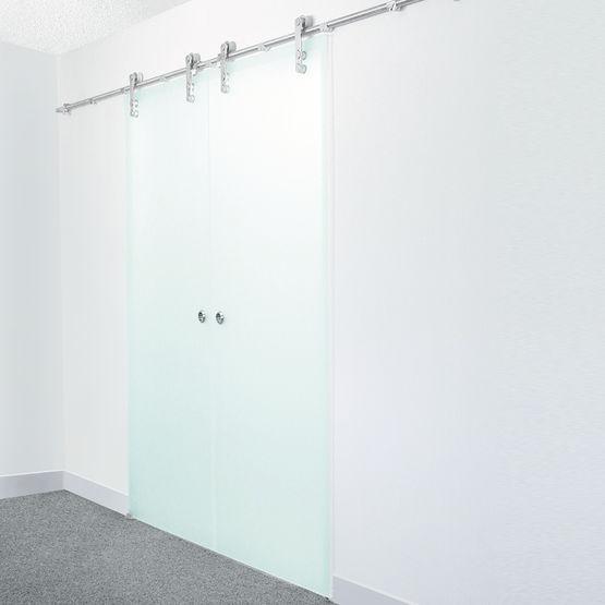 Ferrures suspendues pour porte coulissante verre c r for Porte coulissante en verre pour salle de bain