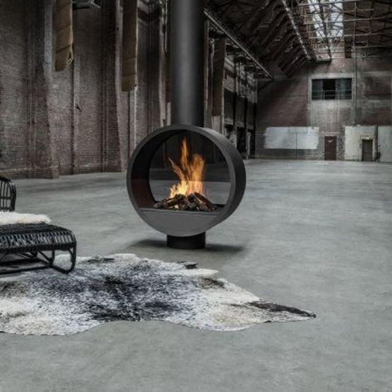 Foyer gaz chemin e centrale sur mesure black collection en for Foyer gaz exterieur