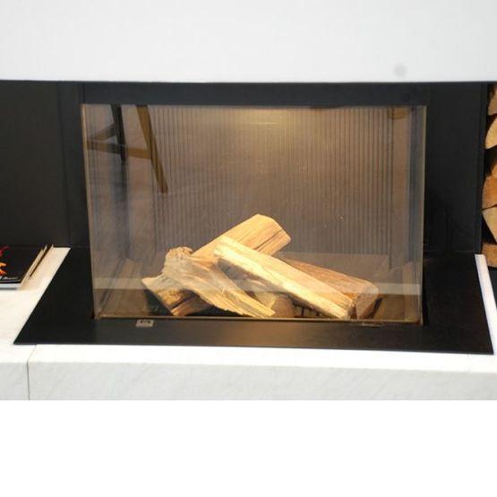 Foyers bois pour chemin e porte escamotable m design argento for Porte vitree pour cheminee