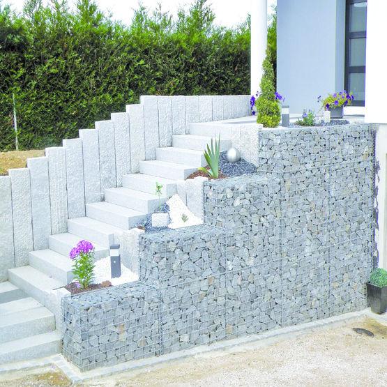 Gabions modulaires en panneaux treillis lectro soud s - Treillis soude pour terrasse ...