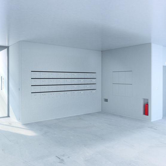 habillage de mur avec bloc bo tes aux lettres int gr transcript decayeux. Black Bedroom Furniture Sets. Home Design Ideas