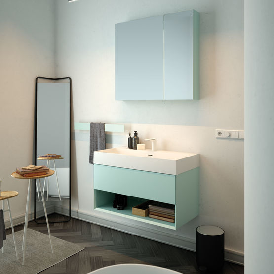 lavabo poser sur plan de toilette ou suspendu en solid surface. Black Bedroom Furniture Sets. Home Design Ideas