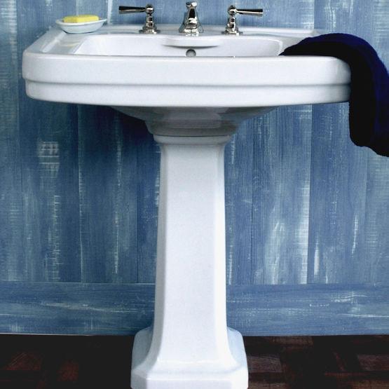 vasque avec colonne Lavabo avec colonne en céramique au design des années 30 | EDWARD