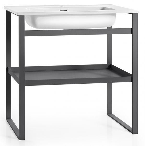 lavabo en c ramique blanc poser sur console en aluminium vernis lavabo lissio collection. Black Bedroom Furniture Sets. Home Design Ideas