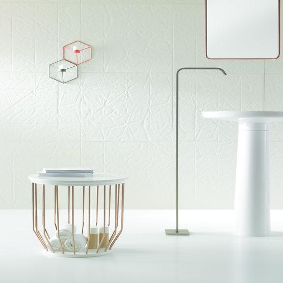 Lavabo Monobloc En Matériau De Synthèse Avec Colonne Et étagère Ceramilux Bowl
