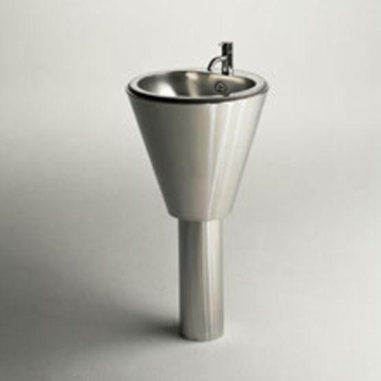 Lavabo sur pied en acier inox poli le tour d 39 eau euclide - Meuble pour lavabo sur pied ...