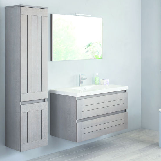 ligne de meubles de salle de bain en ch ne lignum sanijura. Black Bedroom Furniture Sets. Home Design Ideas