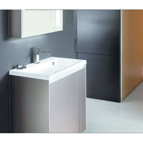 Meuble vasque compact en verre laqu color smart d cotec for Meuble bureau compact