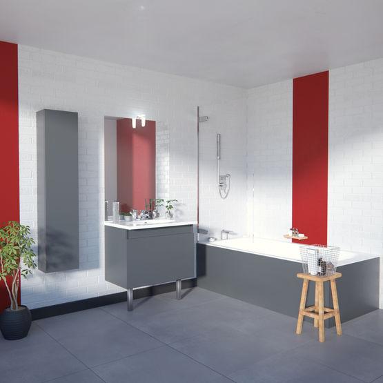 Meuble Vasque Salle De Bain 1 Grand Tiroir Avec Miroir Et Applique LED