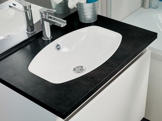 Meuble vasque salle de bain 1 grand tiroir avec miroir et applique
