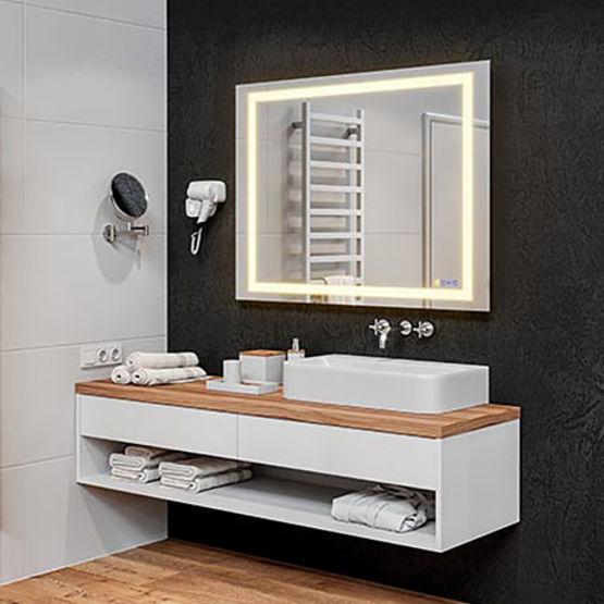 Miroir led connect et multifonction pour salles de bains h tellerie h fele - Miroir salle de bain connecte ...