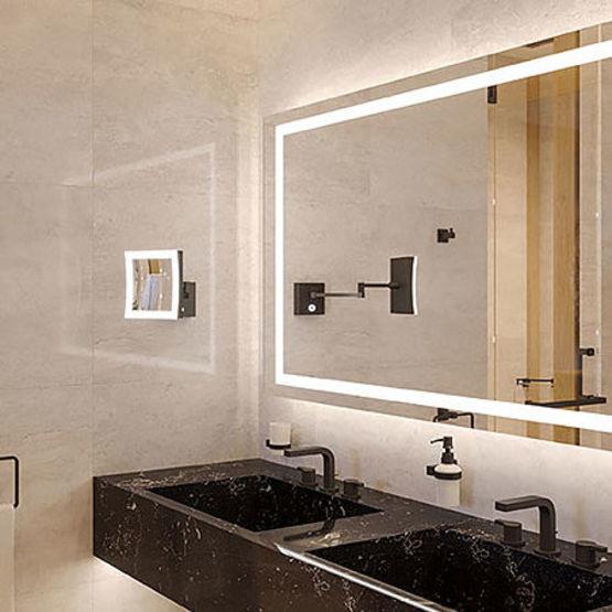 Miroir led connect et multifonction pour salles de bains h tellerie h fele - Miroir loupe salle de bain ...
