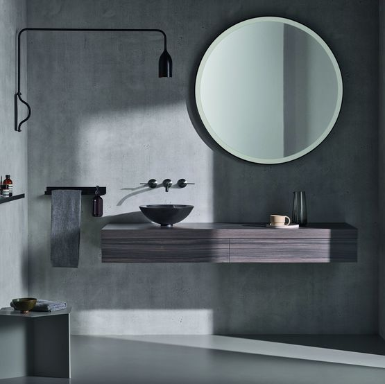 Miroirs salle de bain design en aluminium avec clairage led - Glace de salle de bain avec eclairage ...